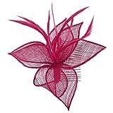 Lierys Sinamay Damen Haarkamm | Kopfschmuck Fascinator Brautschmuck Frühling-Sommer Herbst-Winter | One Size dunkelrot