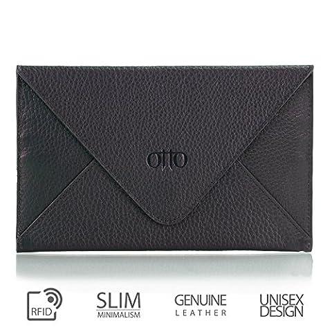 OTTO en cuir véritable embrayage et porte-carte de crédit - enveloppe-Style Portefeuille de voyage avec magnétique fermoir - plusieurs emplacements pour argent, ID, Smartphone (Noir)