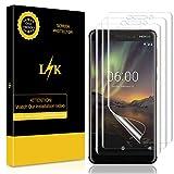 LK [3 Pack Pellicola per Nokia 6.1 / Nokia 6 2018, Wet Applied Pellicola Protettiva [Copertura Completa] [Bubble-Free-Riutilizzabile] HD Clear Film Protezione Schermo in TPU Garanzia a Vita