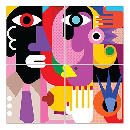 DekoGlas Glasbild 'Kubistisches Porträt' Acrylglas Bild Küche, Wandbild Flur Bilder Wohnzimmer Wanddeko, mehrteilig 4 x 50x50 cm -