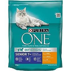 Purina ONE BIFENSIS Senior 7+ Katzentrockenfutter: reich an Huhn & Vollkorn-Getreide, unterstützt Vitalfunktionen I ab 7 Jahre I 8er Pack (8 x 800 g)