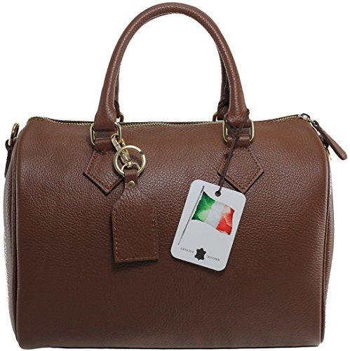 CTM Borsa da Donna Bauletto a Mano, 30x23x18cm, 100% Made in Italy Marrone