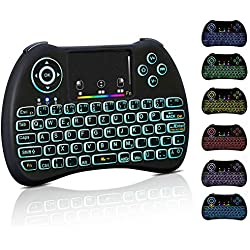 Mini clavier sans fil touchpad lumineux clavier PC Télécommande 2.4 GHz 10 m Portée Clavier QWERTZ allemand Télécommande pour Smart TV IPTV HTPC Android TV Box Xbox 360 PS3 Raspberry Pi