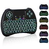 Mini Tastatur Wireless Touchpad Beleuchtet PC Fernbedienung 2.4GHz QWERTZ Deutsch Tastaturlayout 10M Reichweite Tastatur Fernbedienung für Smart TV HTPC IPTV Android TV Box XBOX360 PS3 Raspberry Pi