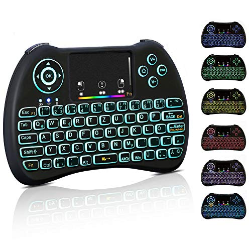 Mini Tastatur Wireless Touchpad Beleuchtet PC Fernbedienung 2.4GHz QWERTZ Deutsch Tastaturlayout 10M Reichweite Tastatur Fernbedienung f¨¹r Smart TV HTPC IPTV Android TV Box XBOX360 PS3 Raspberry Pi
