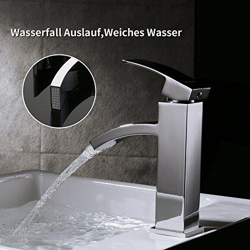 Homelody – Einhebel-Waschtischarmatur, ohne Ablaufgarnitur, Wasserfallarmatur, Chrom - 4
