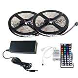 Sunface Euro LED Strip Lights Kit, waterproof 2x5m(10m in Total) 5050 RGB 300led Strips Lighting with 12V 5A UK Plug Adapter Power Supply + 44 Key IR Remote Ideal for Home,Kitchen Lighting,Christams Decorations
