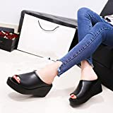 Women Sandals,Women Summer Fashion Leisure Fish Mouth Sandals Thick Bottom Slippers (39, Black)