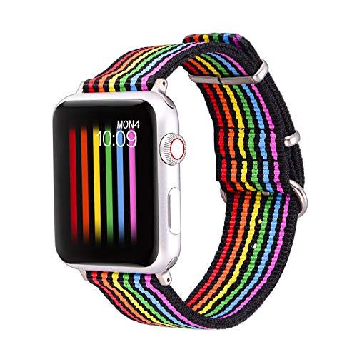 bandmax Armband kompatibele für Apple Watch 42mm/44mm, LGBT Homosexuell Regenbogen Nylon Gewebe Gurt Ersatzarmband Uhrenarmband für Apple Watch Sport iWatch Series 5/4/3/2/1