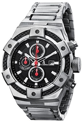 CALABRIA - ARMATO FORTE - Black Dial Men Watch with Carbon Fiber Bezel & Stainless Steel Band