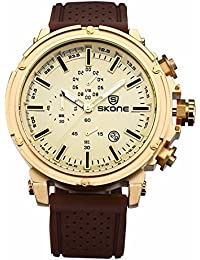SKONE Fashion Design Mens Watch with Nailed Scale and 3eye Decoration Dial Quartz Date Display (Coffee Gold)