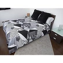 Funda Nordica ISOS GRIS Reversible Cama de 90 ( 150X260cm)+ 1 FUNDA DE ALMOHADA (45X110cm) + sábana bajera ajustable 90 x 190/200 cm - 50%ALGODÓN - 50% POLIÉSTER. Disponible para cama de 90, 105, 135 y 150.
