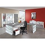 Büromöbel Set LUGANO257 grafit, weiß, Glas-Applikationen