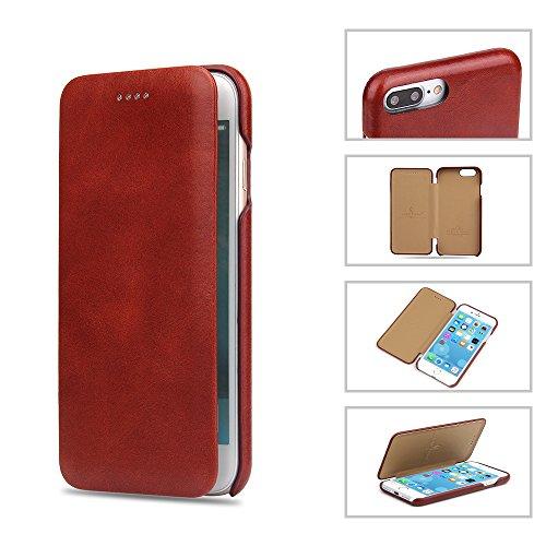 COVO® iPhone 7 Plus Case Cover,Custodia in pelle di cuoio genuino, utilizzo di un lato olio all-inclusive di artigianato squisito, spessore ultra sottile, copertura in cassa di cuoio per iPhone 7 Plus Nero