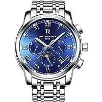 ZfgG Männer Vollautomatische mechanische Uhr Stahlband ausgehöhlt modische drei kleine Dial Woche Kalender Armbanduhr Nachtlicht wasserdichte männliche Uhr. Perfekter Wohnassistent ( Farbe : Blau )