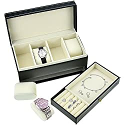 StarSide 4-Watch Storage Box Jewellery Organiser Case Bracelet Bangle Tray Case
