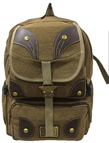 Aimerfeel große Leinwand Denim Tasche stilvolle Sport / Schule / Camping Rucksack und Rucksack in grün, schwarz und braun Braun