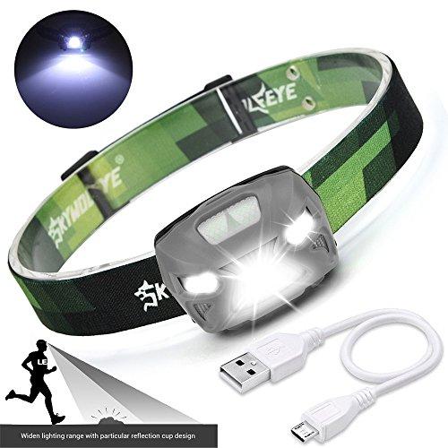 LED Stirnlampe, Ulanda Wasserdicht USB Wiederaufladbare LED Kopflampe mit Handbewegung IR-Sensor, Super Helle 4 Modi mit Sensor, inklusive USB Kabel (Grau)