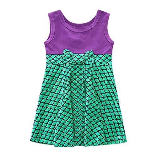LEXUPE Kinder Kinder Mädchen Prinzessin Belle Bowknot Geburtstag Kleider Kostüm Kleidung(Grün,130)