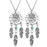 MJARTORIA Damen Indien Kette Gravur mit Traumfänger Anhänger Edelstahl Halskette Silber Farbe Freundschaftskette 2 Stück