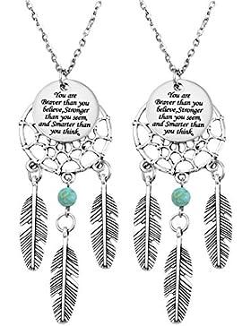 MJARTORIA Handarbeit Damen Mädchen Halskette Edelstahl Traumfänger Anhänger mit Gravur Pullover Kette Silber Farbe...