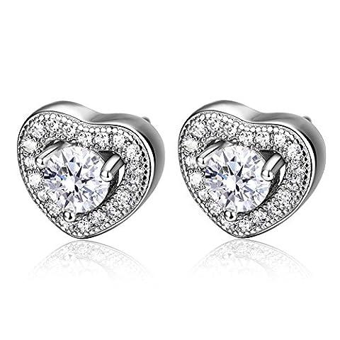 F.ZENI Women Silver Earring 925 Sterling Silver Earrings Sparkle Cubic Zirconia Love Heart 4mm Stud Earrings for