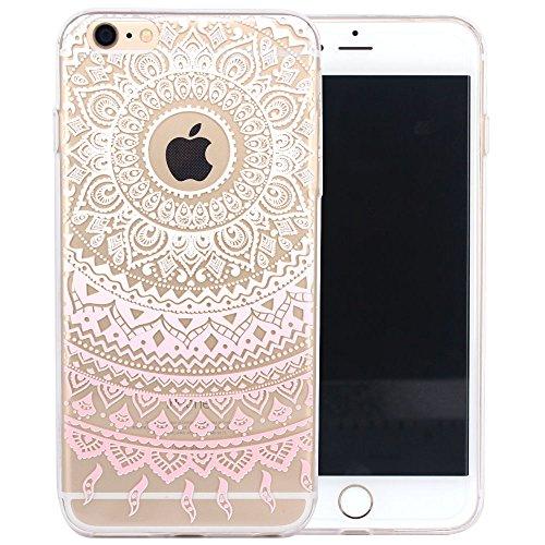 JIAXIUFEN Transparent TPU Silikon Schutz Handy Hülle Case Cover Handyhülle Schutzhülle Rosa Glitzer Durchsichtig Blumen Tasche Etui Bumper für Apple iPhone 6 6S - weiß Tribal Mandala Color01