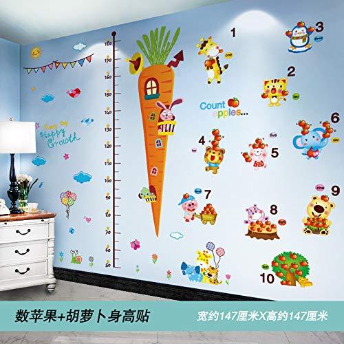 Wandaufkleber Wandpapier Selbstklebend Kinder Schlafzimmer Wand Bemalt Kindergarten Wanddekoration 3d Stereoskopisch Zählen Sie die Äpfel und Karotten Höhe Aufkleber groß -