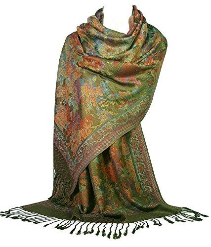 GFM Schal im Pashminastil mit floralem Mosaik-Muster, Wickeltuch Gr. L.S9-299 - Olive (Jtn)