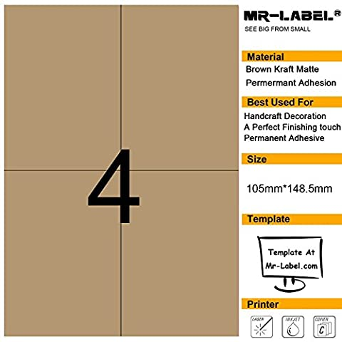 Mr-Label® 4 Pcs Blank Kraft Labels -Self Adhesive Stickers pour la décoration cadeau | main artisanale | Finishing Touch (Taille: 105 * 148,5 mm) (25 Sheets/100 pcs Label)