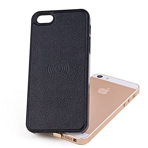 Antye® Qi iPhone5/5s Wireless Charging Récepteur,Récepteur de charge sans fil pour iPhone 5/5s(Support complet pour iPhone5/5s nécessaire,Utilisé conjointement avec chargeur sans fil)(noir)
