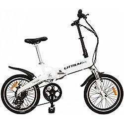 Littium By Kaos Ibiza LCD Bicicleta Eléctrica Plegable, Unisex Adulto, Blanco, L