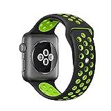 Yunsunshine Für Apple Watch Armband 38mm 42mm,TPU Silikon Sportarmband Sport iWatch Armbändern für Apple Watch Serie 1, Serie 2,Serie 3 (42mm, Schwarz Grün)