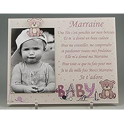 Cadre Photo - modèle Rose pour Marraine - (Cadeaux originaux pour Parrain Marraine - Baptême, Anniversaire, Noël.)