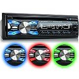 XOMAX XM-CDB619 Autoradio mit CD-Player + Bluetooth-Freisprecheinrichtung & Musikwiedergabe + 3 Farben einstellbar (Rot, Blau, Grün) + USB-Anschluss (bis 128 GB) & SD-Kartenslot (bis 128 GB) für MP3 und WMA + AUX-IN + Diebstahlschutz: abnehmbares Bedienteil + Single-DIN / 1-DIN Standard Einbaugröße + inkl. Fernbedienung, Schutzhülle, Blende & Einbaurahmen