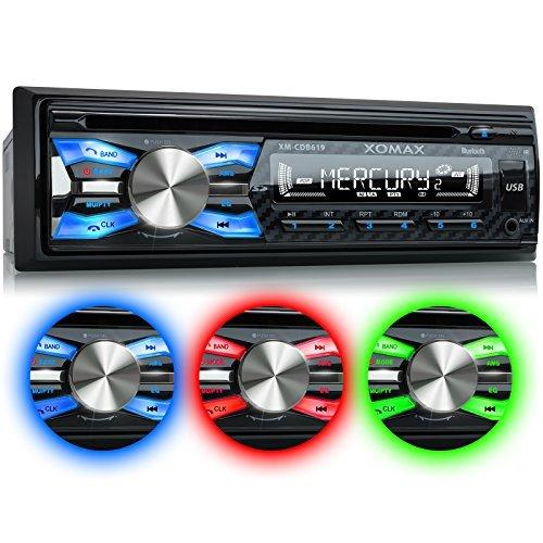 XOMAX XM-CDB619 Autoradio mit CD-Player + Bluetooth-Freisprecheinrichtung & Musikwiedergabe + 3 Farben einstellbar (Rot, Blau, Grün) + USB-Anschluss (bis 128 GB) & SD-Kartenslot (bis 128 GB) für MP3 und WMA + AUX-IN + Diebstahlschutz: abnehmbares Bedienteil + Single-DIN / 1-DIN Standard Einbaugröße + inkl. Fernbedienung, Schutzhülle, Blende & Einbaurahmen (Dvd Alpine Bluetooth)