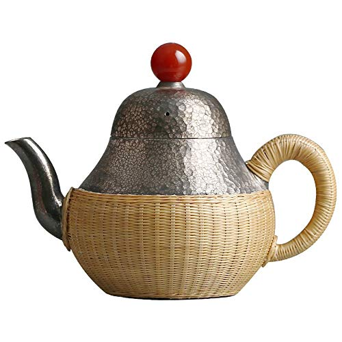 Vbndf Teekanne Eine Teekanne Aus Sterlingsilber Silber Topf Handgefertigte Kugel Loch Filter Teekanne Kreative Bambus Hülse Ist Nicht Heiß - Kugel Mit Hülse Silber
