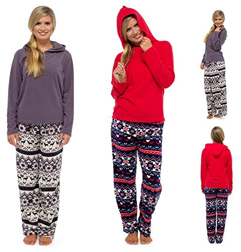 - 51NV1LIO67L - Daisy Dreamer Ladies Fair Isle Hooded Pyjamas, Fleece Top & Pants PJ Set Nightwear, Size 8-18 By