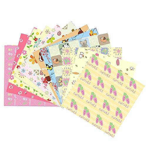 Purebesi 72 Blätter Origami-Papier-Set Handwerk Falten Papier, DIY Schmetterling Rose Muster Bunte Origami - 12 Verschiedene Muster einseitig, 5,91 x 5,91 Zoll quadratische Blätter - Square Schmetterling Blatt