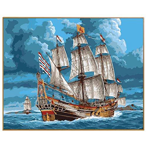 FULLLUCKY DIY Ölgemälde Durch Zahlen Leinwandbild Erwachsene Färbung Farbe Acrylmalerei Kalligraphie Durch Zahl Wanddekor Seelandschaft