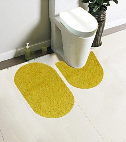 Kontur-badezimmer Teppich (Kashi Home Taylor Kollektion 2-teiliges Badezimmer Teppich Set Ovale Form und Kontur, 45,7x 76,2cm Farbe in Gelb, rutschhemmenden Latexrücken Bad Teppich (2Teppiche))
