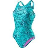 Speedo Damen Boom Muscleback Badeanzug mit Allover-Print Swimwear, Navy/Jade),38 EU
