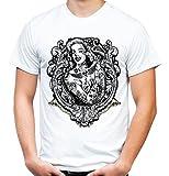 Marilyn Monroe Männer und Herren T-Shirt | Tattoo Vintage Rockabilly Hollywood Kult ||| M4 (XXL, Weiß)