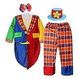 Costume Di Pagliaccio A Righe Abito Da Circo Con Cappello Da Carnevale Halloween - Colorato, M
