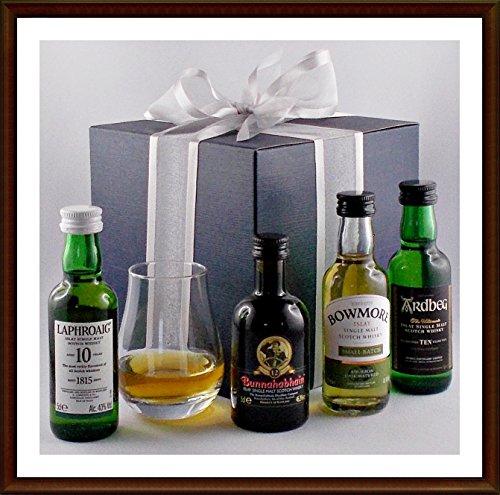 Geschenk 4 Islay Single Malt Whisky Miniaturen (je 5cl), 2 davon prämiert mit Spey Dram Glas, kostenloser Versand