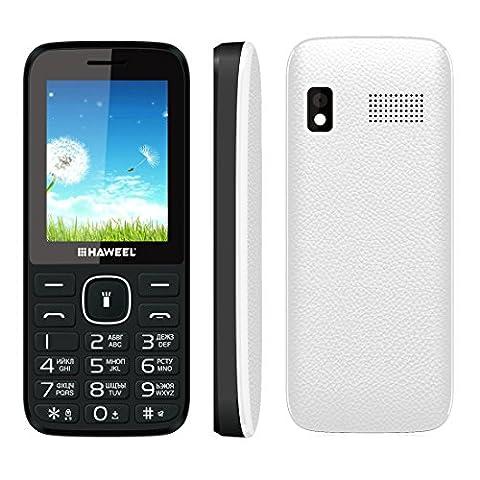 Haweel X1téléphones portables, 6,1cm G/M² débloqué Dual SIM double veille English clavier avec lampe de poche Caméra Super Big Haut-parleur radio FM carte TF téléphone portable pour enfants Senior aux personnes âgées