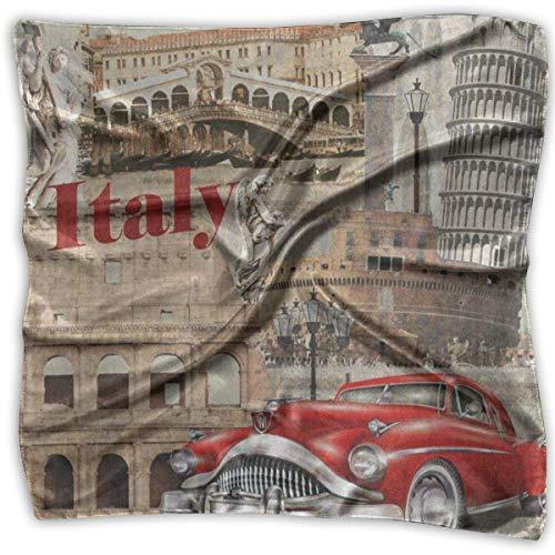 Funkelnde Auto Waschen (Xukmefat Quadratischer Schal Italien Schiefer Turm von Pisa rotes Auto Stirnband Unisex Halstuch Krawatte für Erwachsene)