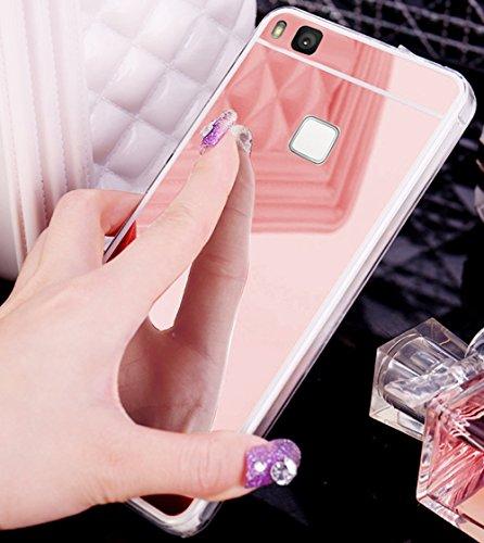 Kompatibel mit Huawei P9 Lite Hülle,Huawei P9 Lite Schutzhülle,Glänzend Kristall Überzug Spiegel TPU Silikon Hülle Tasche Silikon Crystal Durchsichtig Bumper Schutzhülle für Huawei P9 Lite,Rose Gold