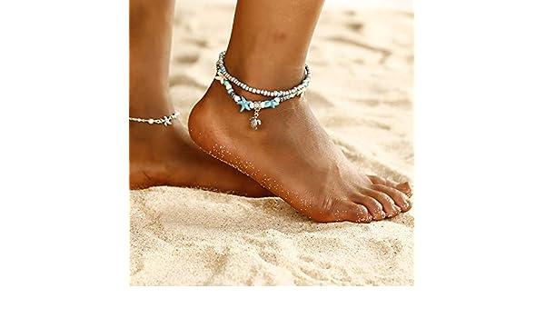 GSJD Boho Style Star Fashion Bracelet de Cheville Multilayer Pied cha/îne 2019 Menottes Mode Cheville Bracelet for Les Femmes Accessoires de Plage Cadeau Color Show