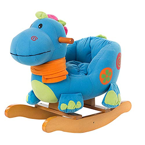 labebe - Baby Rocking Horse for 1-3 Year Old, Wooden Toddler Rocker, Kid Rocking Toy, Infant Rocking Animal,Outdoor Animal Rocker,Girl&Boy Ride on Toy, Child First Rocking Horse - Dinosaur Rocker